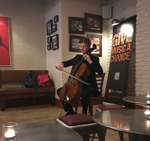 Laurens Price-Nowak plays cello at our party