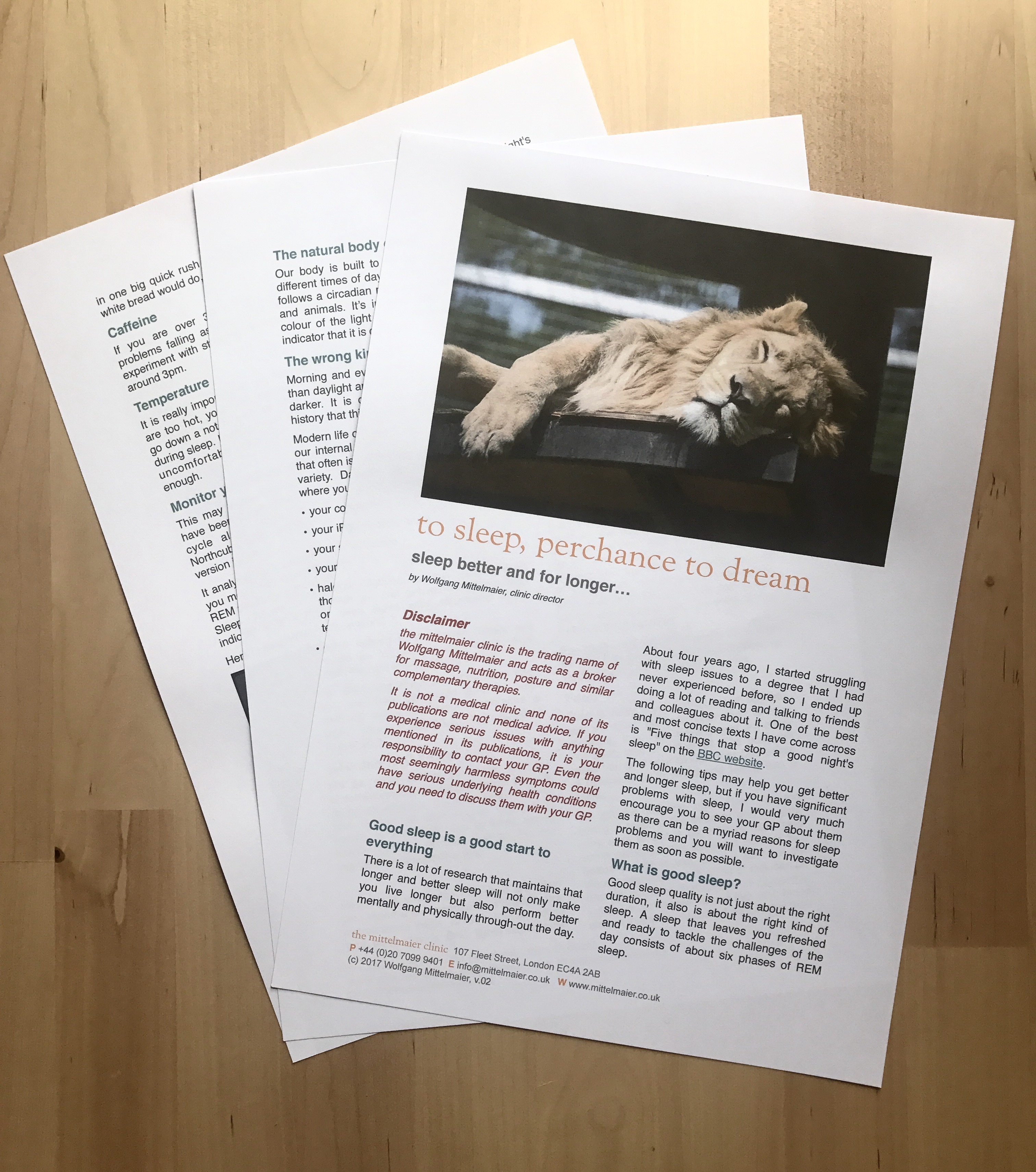 photo of printout of free sleep newsletter download